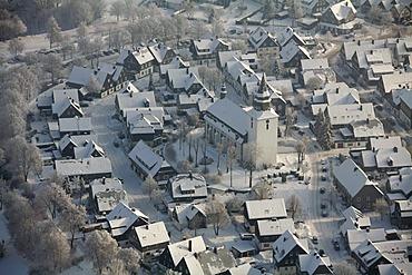 Aerial view, downtown Winterberg, church, snow, winter, North Rhine-Westphalia, Germany, Europe