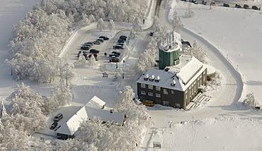 Aerial view, Mt. Kahler Asten weather station, snow, winter, Winterberg, North Rhine-Westphalia, Germany, Europe