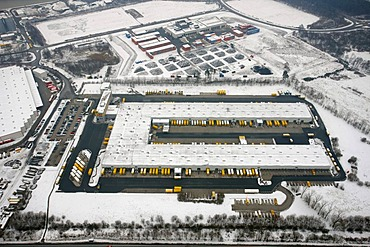 Aerial view, snow, DHL vehicle fleet, Hervest, Dorsten, Ruhrgebiet area, North Rhine-Westphalia, Germany, Europe