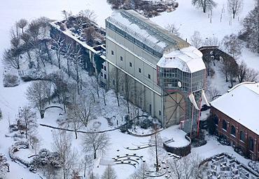 "Aerial view, Maximilianpark with its landmark, the ""glass elephant"", snow, Hamm, Ruhrgebiet area, North Rhine-Westphalia, Germany, Europe"