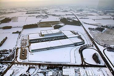 Aerial photo, Edeka logistics centre, Rhynern, snow-covered, Hamm, Ruhr area, North Rhine-Westphalia, Germany, Europe