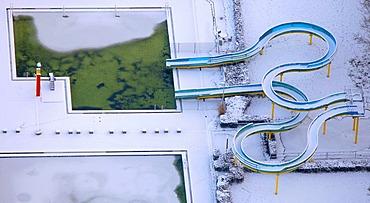 Aerial photo, swimming pool in the snow, Hamm, Ruhr area, North Rhine-Westphalia, Germany, Europe