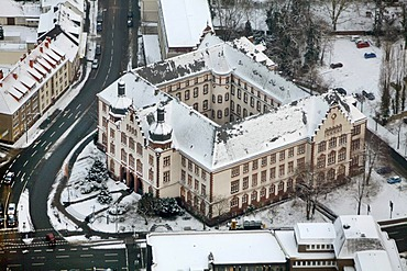 Aerial photo, Town Hall in the snow, Hamm, Ruhr area, North Rhine-Westphalia, Germany, Europe