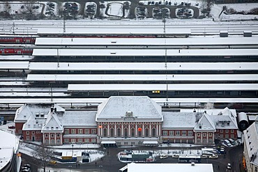 Aerial photo, Central Railway Station in the snow, Hamm, Ruhr area, North Rhine-Westphalia, Germany, Europe