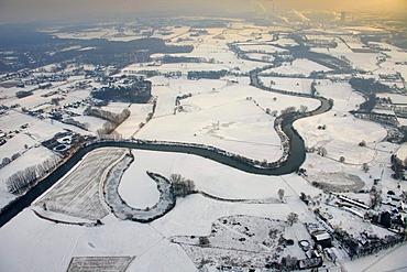 Aerial view, Lippe river, river sinuosity, Alstedder, Luenen, Ruhrgebiet area, North Rhine-Westphalia, Germany, Europe