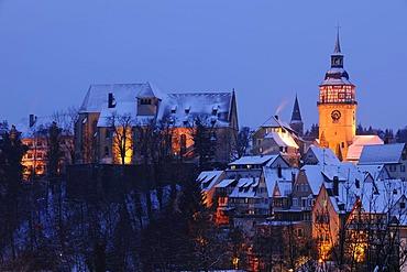 Town view of Backnang in winter, Rems-Murr-Kreis district, Baden-Wuerttemberg, Germany, Europe