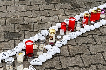 1st anniversary of the massacre of Winnenden-Wendlingen, a path of pebbles with messages for the way into the future, Winnenden, Baden-Wuerttemberg, Germany, Europe