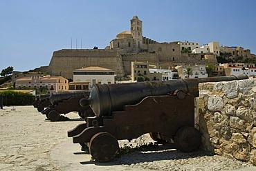 Cathedral of Ibiza as seen from the Santa Lucia bulwark, Ibiza, Spain, Europe