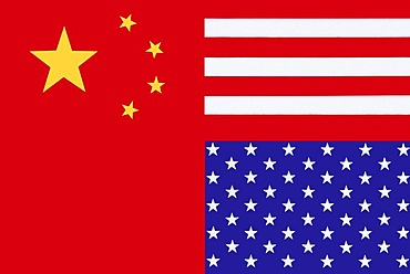 Chimerica, combination of the flags of economic powers China and America