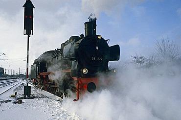 German class P8 steam locomotive near Muenster, North-Rhine Westphalia, Germany, Europe