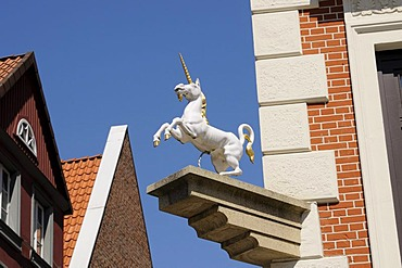 Sculpture of a unicorn, Lueneburg, Lower Saxony, Germany, Europe