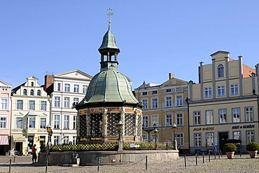 Water art in Wismar, Mecklenburg-Western Pomerania, Germany, Europe