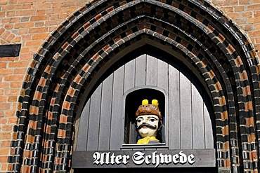 Portal of one of the oldest houses in Wismar, Mecklenburg-Western Pomerania, Germany, Europe