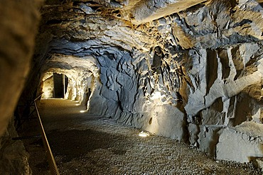 Tunnel dug into the rock to the Upper Forttress, Franzensfeste or Fortezza village, Eisacktal valley, Southern Tyrol, Italy, Europe,