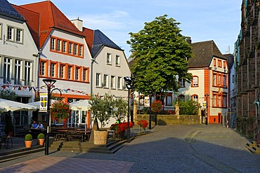 Old town houses at the Saint Wendalinus Basilica, St. Wendel, Saarland, Germany, Europe