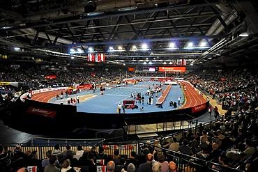 Interior of the Hanns-Martin-Schleyer-Halle stadium, top-class athletics, Sparkassen-Cup 2010 sports tournament, Schleyer-Halle, Stuttgart, Baden-Wuerttemberg, Germany, Europe