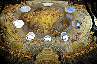 Dome, ceiling of the grand hall of the Austrian National Library, Josefsplatz square, Vienna, Austria, Europe