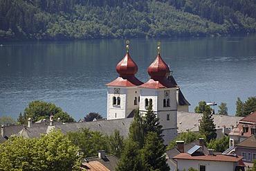 Towers of the former collegiate church of Millstatt, Carinthia, Austria, Europe