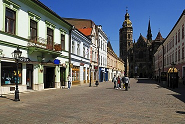 Historic houses and St. Elisabeth Cathedral in the historic town of Kosice, Slovakia, Eastern Europe