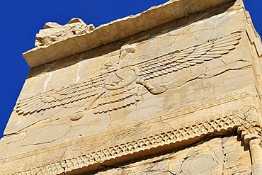 Bas-relief with Zoroastrian god Ahuramazda at the Achaemenid archeological site of Persepolis, UNESCO World Heritage Site, Persia, Iran, Asia