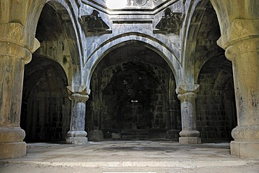 Interior of a historic Armenian orthodox church at Haghpat monastery, UNESCO World Heritage Site, Armenia, Asia