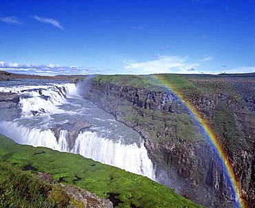 Rainbow over Gullfoss Waterfall, Hvita-Fluss, Haukadalur, southern Iceland, Iceland