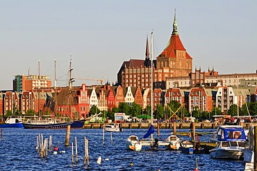 Old town with the Marienkirche church, Warnow river and harbour, Rostock, Mecklenburg-Western Pomerania, Germany, Europe