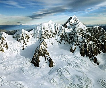 Aerial shot, Mount Tasman and Aoraki, Mount Cook, Aoraki/Mount Cook National Park, South Island, New Zealand