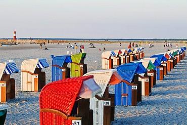 Beach, roofed wicker beach chairs, Baltic resort Warnemuende near Rostock, Mecklenburg-Western Pomerania, Germany, Europe