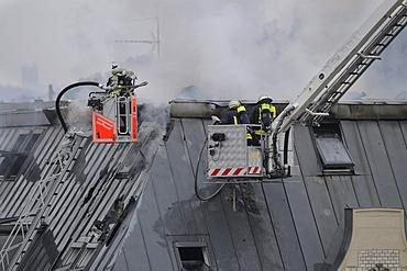 Fire on Urbanstrasse Road 1, in Stuttgart-Mitte near Charlottenplatz Square, Stuttgart, Baden-Wuerttemberg, Germany, Europe