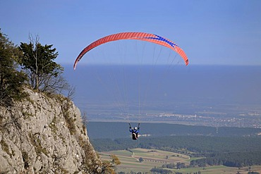 Paraglider from the Skywalk, Hohe Wand, Lower Austria, Austria, Europe