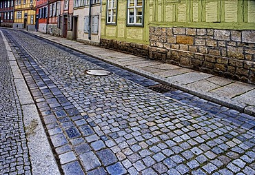 Alley in Quedlinburg, Harz region, Saxony-Anhalt, Germany, Europe