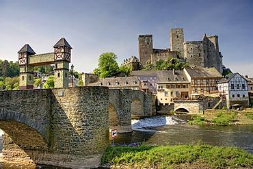 Runkel on the Lahn river, with the old Lahnbruecke bridge, Hesse, Germany, Europe