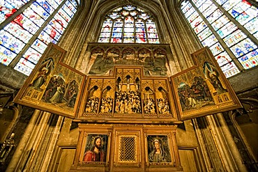 Altarpiece, triptych, Sint Salvatorskathedraal, St. Salvator in Bruges, West Flanders, Belgium, Europe