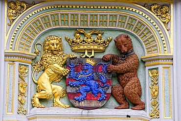 Coat of arms on the Palace of Justice, Burgplein, Bruges in West Flanders, Belgium, Europe