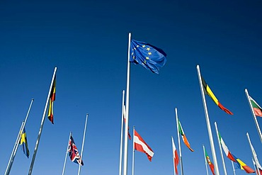 International flags in front of the European Commission, Kirchberg quarter, Europe District, Luxembourg, Europe
