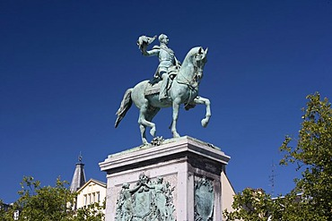 Place Guillaume II square with equestrian statue of Wilhelm II in Luxembourg City, Luxembourg, Europe