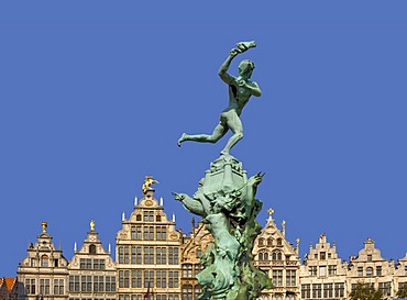 The Silvius Brabo fountain and facades of guild houses on the Grote Markt square, Antwerp, Flanders, Belgium, Europe