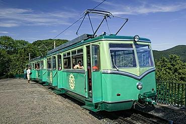 The Drachenfelsbahn cable car on Mt. Drachenfels, Siebengebirge mountains, Koenigswinter, North Rhine-Westphalia, Germany, Europe