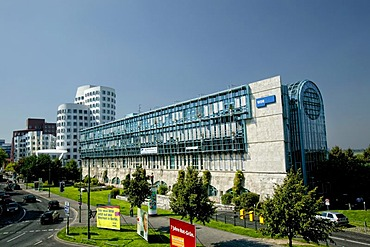 WDR building, in the back buildings by Frank Gehry, Duesseldorf, North Rhine-Westphalia, Germany, Europe