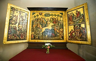 Triptych in the Erfurter Dom or Marienkirche cathedral, Erfurt, Thuringia, Germany, Europe