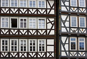 Building facades in Hannoversch Muenden, Hesse, Germany, Europe