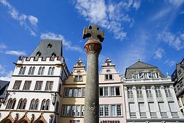 Medieval market cross, Hauptmarkt central square, Trier, Rhineland-Palatinate, Germany, Europe