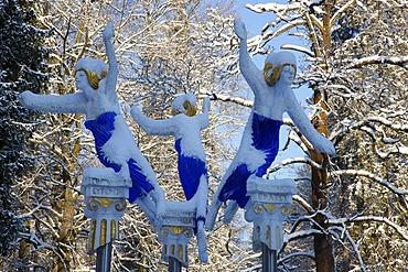Three Muses, wintery spa gardens, Marianske Lazne, Czech Republic, Europe