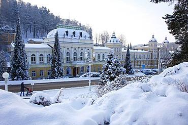The casino, wintry, wintery, Marianske Lazne, Czech Republic, Europe
