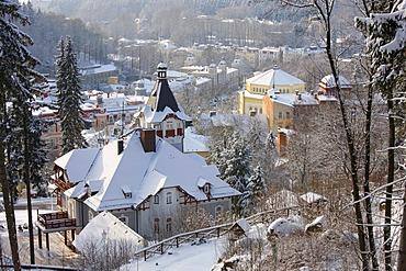 View on the wintery Marianske Lazne, Czech Republic, Europe