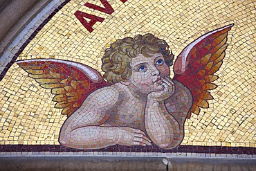 Angel, fresco at the church entrance, mosaic, based by the Sistine Madonna by Raphael, Klaoeter Tepla, Premonstratensian Tepla Abbey near Marianske Lazne, Czech Republic, Europe
