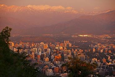 Evening mood, Santiago de Chile, Cordilleras de los Andos, Chile, South America