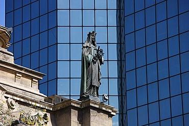 Sculpture at the cathedral, Plaza de Armas, Santiago de Chile, Chile, South America