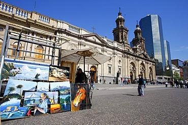 Cathedral, Plaza de Armas, Santiago de Chile, Chile, South America
